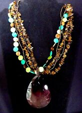Tigers Eye Mother Of Pearl W Copper Tone Seed Beads Statement Necklace