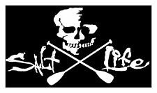 "SALT LIFE SKULL & PADDLES""WHITE"" MEDIUM UV Rated Vinyl Decal*FREE SHIPPING"