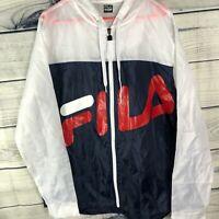 NWT FILA Mens White/Blue Colorblock Windbreaker Hooded Jacket Pullover Large L