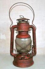 Old Antique Indian Iron Painted Kerosene Lighting Lantern  Lamp With Glass Glob