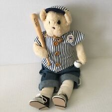 Thread Bears Plush Bear Ruth  Old Time Uniform  with Bat and Ball First Edition