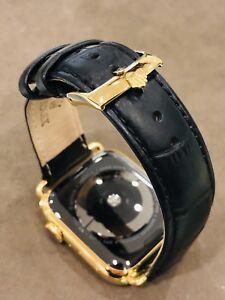 24K Gold Plated 45MM Apple Watch SERIES 7 Black Alligator ROLEX GPS+LTE+BLOOD O2