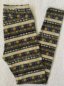 Lularoe Leggings OS Gold Green Cream Purple Blue Aztec Tribal Stripes VINTAGE