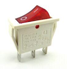 Wippschalter, 15A 250VAC 3 Pin, 30.9*13.6*21.7mm rote Wippe beleuchtet, weiß