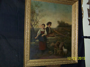 American c1800's Original Oil On Canvas Portrait of Children & Prize Sheep