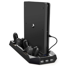 Slim Vertical Accessory For PS4  Kits Stand Dual Cooling Fan Dock 3 Extra USB Po