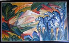 Künstlerische Malerei mit Pferd und Landschafts- & Stadt-Motiv
