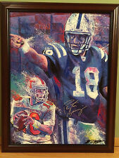 PEYTON MANNING hand signed EMBELLISHED Canvas Bill Lopa DENVER BRONCOS Football