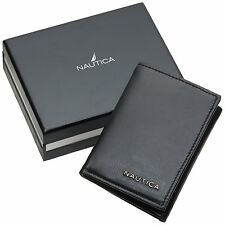 NEW NAUTICA MEN'S COWHIDE LEATHER CREDIT CARD ID WALLET TRIFOLD BLACK 31NU11X018