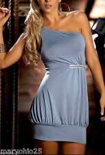 4114 Sexy Gray Silver Cocktail Ultra Mini DRESS Party Club wear Party S M L XL