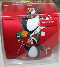 HOLIDAY CHRISTMAS MENS NECKTIE TIE RED HAPPY PENGUINS NEW BOX