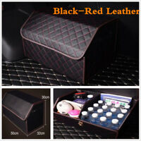 Black-Red Leather Car Trunk Organizer Storage Box Trunk Bag Interior Accessories