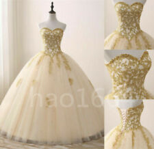 New Gold Appliques Quinceanera Dress Formal Sweet 15 16 Prom Party Pageant Gowns