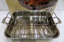 """Lenox 16"""" 3-Ply Stainless Steel Roasting Pan + Raised Stainless Steel Rack NIB"""