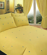 SUPER KING DUVET COVER SET EMBROIDERY BELLIS YELLOW FLORAL GREEN BLUE DAISY