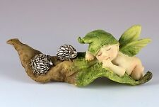 "Baby Fairy Sleeping On Leaf Figurine With Hedgehogs 4.5"" Long Resin New In Box!"