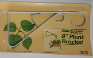 """Vintage Hand Crafted Wrought Iron 9"""" Plant Hanger Bracket White New"""