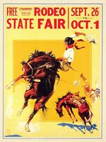 1930s State Fair Rodeo Cowgirl Strawberry Roan Vintage Horse Poster - 24x32