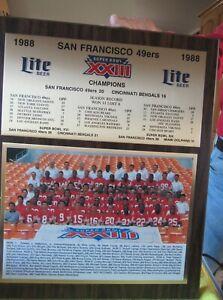 1988 San Francisco 49ers , SUPER BOWL XXIII Champions, 16X13 WOOD PLAQUE NEW