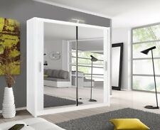 Milan Modern Bedroom 2 or 3 Sliding door Wardrobe  6 Sizes 4 Colour with LED