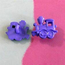 20 Train Transport Kid Novelty Craft Sew On Buttons Dress it up Purple K467