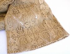 FAB $895 NWT GENNY Couture Caramel-Beige Sequined Cotton Lace Pants 48 ITALY