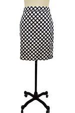 J. Crew The Pencil Skirt Size 2 Blue White Polka Dot Cotton Knee Length