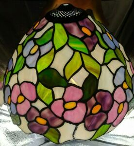 """Tiffany Style Floral 14""""x9"""" Stained Faux Glass (Plastic) Lamp Light Shade Pretty"""