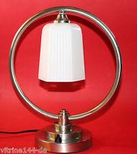 ART DECO BAUHAUS Tischleuchte Design CIRCLE Messing vernickelt silber Opalglas