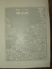 VINTAGE 1914 WWI MAGAZINE PRINT - THE GREAT WAR MAP OF WESTERN EUROPE