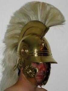 16ga Brass Sca Larp Medieval Roman Celtic Helmet With White Plume