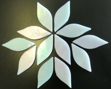 Shining White Iridized handcut Tiffany Petals for Mosaics, 12 pieces.