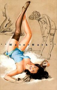 """Pin Up Art Poster """"Waiting For You"""" Print Vintage Retro Style  K.O. Munson"""