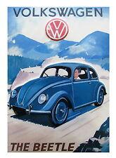 "VOLKSWAGEN BEETLE  Vintage blue Print poster art canvas 36"""