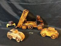 Lot of 3! Antique Primitive Handmade Folk Art Wooden Toy Dump Hauler Truck Cars