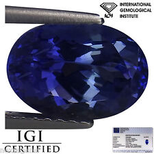 2.66 Ct IGI Certified AA Natural D Block Tanzanite Blue Violet Color Oval Cut