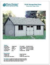 Utility Shed Building Plans Blueprints Do It Yourself 16' x 24' Reverse Gable