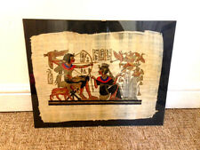 VGC 2x EGYPTIAN ORIGINAL PAPYRUS FRAMED PICTURES