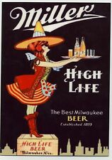 Miller High Life Beer  - Large METAL Fridge Magnet  - Halloween Witch Ad