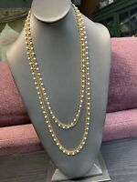 """Vintage 1950's 54"""" White Milk Glass Beaded Long Sweater Necklace 2 Strand"""