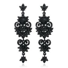 Black Crystal Vintage Chandelier Tassel Earrings