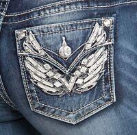 Miss Me Women/'s Butterfly Flap Pocket Skinny Jeans M3339S