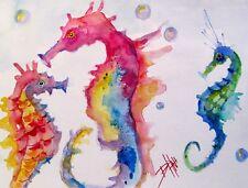 Colorful seahorse fish animal watercolor fantasy beach cottage fish Delilah