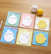 Molang Piu Piu Post-it Sticky Point Note 6EA Memo Pad Bookmark Bookmarker Index