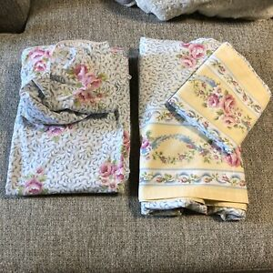Cottage Core Vintage Floral Flower Sheets Bedding TWIN Flat Fitted Farmhouse 70s