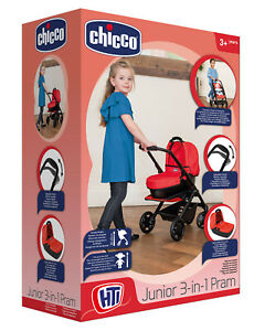 Chicco Junior 3 In 1 Pram - Doll Accessories - Role Play - New