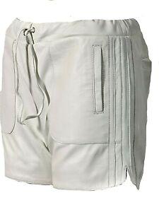 Leder-Shorts als coole Sporthose aus weichem ECHT-Leder in weiss