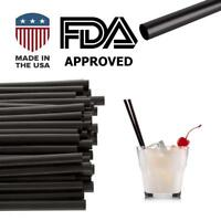 "250 Pcs Jumbo Black Drinking Cocktail Straws:Made in USA ,BPA Free(5.75""x0.24"")"