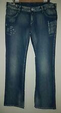 Ladies size 16 Blue Distressed Denim Low Rise Sexy Slim Jeans - Emerge -BNWT