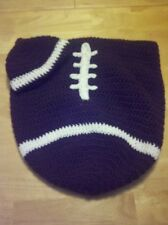 Baby crochet football cocoon and hat set, photo prop, Newborn - 6 months
